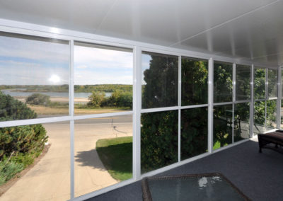 All glass wall solarium with view of South Saskatchewan River