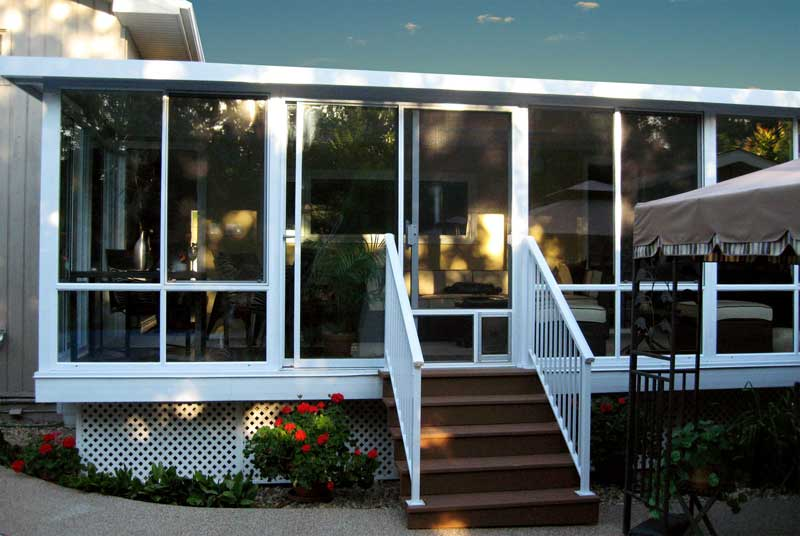 Nice White Aluminum All Glass Walled Sunroom