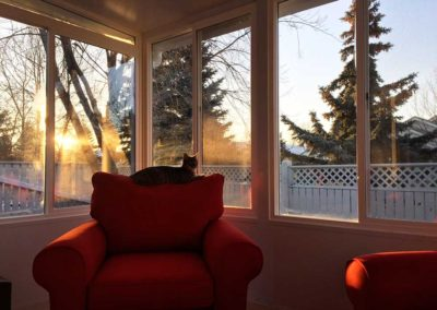 Sunrise in a 4 season sunroom in Saskatchewan