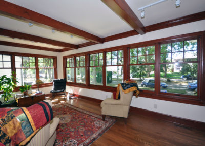 Dark wood frame pella windows in historic home