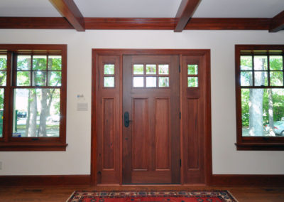 Dark stained solid wood doors