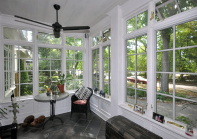 Custom designed and built conservatory with pella windows
