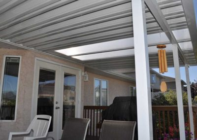 White aluminum pan roofed patio cover and aluminum posts