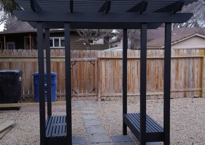 Aluminum pergola with benches built-in saskatoon saskatchewan