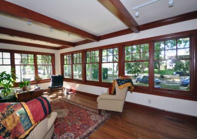 Dark wood frame pella windows in historic home