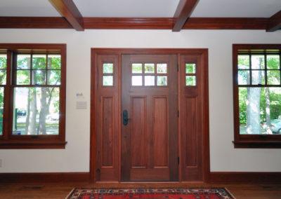 Dark stained solid wood doors